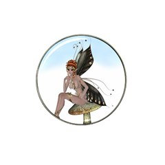 Fairy Sitting On A Mushroom Golf Ball Marker 4 Pack (for Hat Clip)