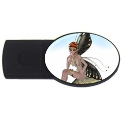 Fairy Sitting On A Mushroom 4gb Usb Flash Drive (oval)