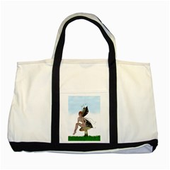 Fairy Sitting On A Mushroom Two Toned Tote Bag