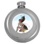 Fairy Sitting On A Mushroom Hip Flask (Round) Front