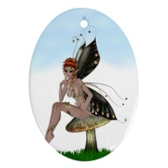 Fairy Sitting On A Mushroom Oval Ornament (Two Sides)