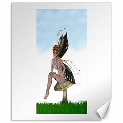 Fairy Sitting On A Mushroom Canvas 8  x 10  (Unframed)