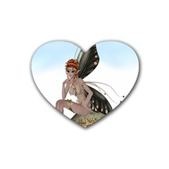 Fairy Sitting On A Mushroom Drink Coasters 4 Pack (Heart)