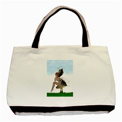 Fairy Sitting On A Mushroom Twin Sided Black Tote Bag