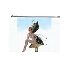 Fairy Sitting On A Mushroom Cosmetic Bag (Large)