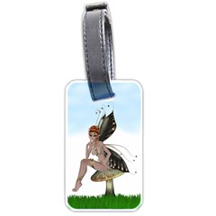 Fairy Sitting On A Mushroom Luggage Tag (one Side)