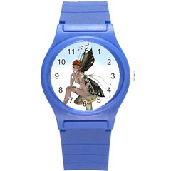Fairy Sitting On A Mushroom Plastic Sport Watch (small)