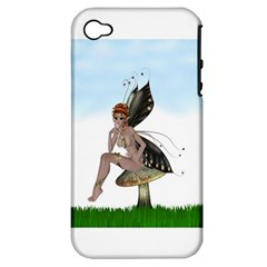 Fairy Sitting On A Mushroom Apple iPhone 4/4S Hardshell Case (PC+Silicone)