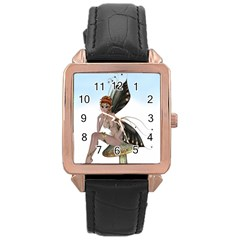 Fairy Sitting On A Mushroom Rose Gold Leather Watch
