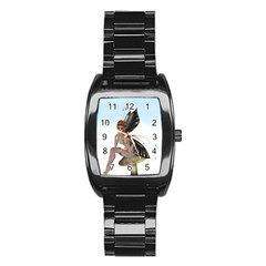 Fairy Sitting On A Mushroom Stainless Steel Barrel Watch