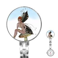 Fairy Sitting On A Mushroom Stainless Steel Nurses Watch
