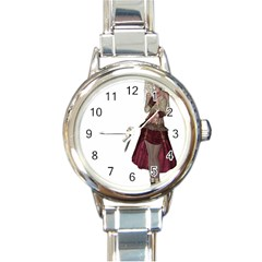 Steampunk Style Girl Wearing Red Dress Round Italian Charm Watch