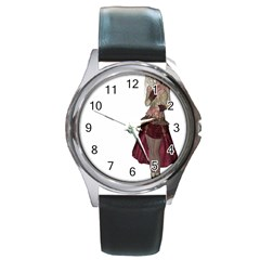 Steampunk Style Girl Wearing Red Dress Round Leather Watch (Silver Rim)