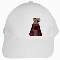 Steampunk Style Girl Wearing Red Dress White Baseball Cap