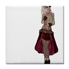 Steampunk Style Girl Wearing Red Dress Ceramic Tile
