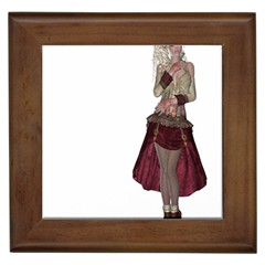 Steampunk Style Girl Wearing Red Dress Framed Ceramic Tile