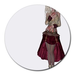 Steampunk Style Girl Wearing Red Dress 8  Mouse Pad (round)