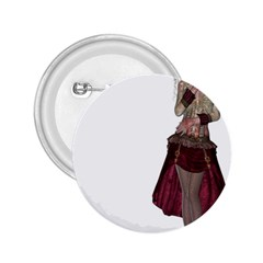 Steampunk Style Girl Wearing Red Dress 2.25  Button