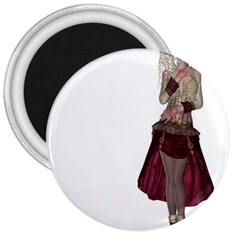 Steampunk Style Girl Wearing Red Dress 3  Button Magnet