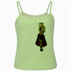 Steampunk Style Girl Wearing Red Dress Green Spaghetti Tank