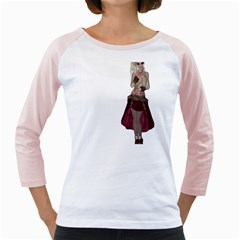 Steampunk Style Girl Wearing Red Dress Women s Long Cap Sleeve T-Shirt (White)