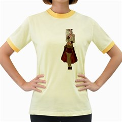 Steampunk Style Girl Wearing Red Dress Women s Ringer T-shirt (Colored)
