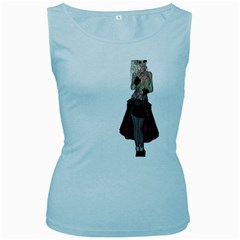 Steampunk Style Girl Wearing Red Dress Women s Tank Top (Baby Blue)
