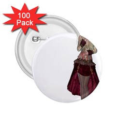 Steampunk Style Girl Wearing Red Dress 2.25  Button (100 pack)