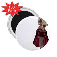 Steampunk Style Girl Wearing Red Dress 2 25  Button Magnet (100 Pack)