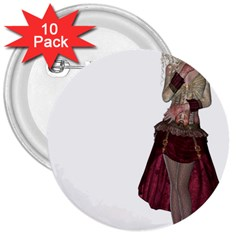 Steampunk Style Girl Wearing Red Dress 3  Button (10 pack)