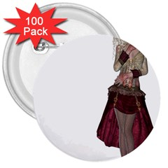Steampunk Style Girl Wearing Red Dress 3  Button (100 pack)