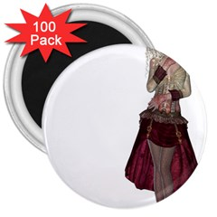 Steampunk Style Girl Wearing Red Dress 3  Button Magnet (100 Pack)