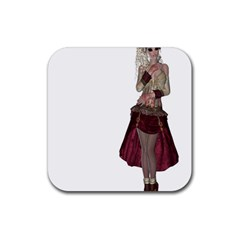 Steampunk Style Girl Wearing Red Dress Drink Coasters 4 Pack (Square)