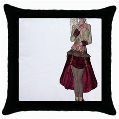 Steampunk Style Girl Wearing Red Dress Black Throw Pillow Case