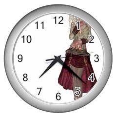 Steampunk Style Girl Wearing Red Dress Wall Clock (Silver)