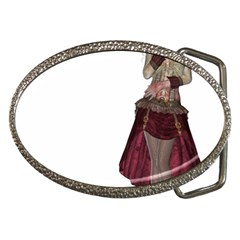 Steampunk Style Girl Wearing Red Dress Belt Buckle (oval)