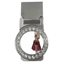 Steampunk Style Girl Wearing Red Dress Money Clip (CZ)