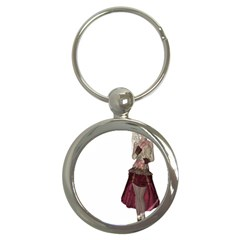 Steampunk Style Girl Wearing Red Dress Key Chain (Round)