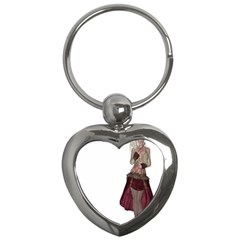 Steampunk Style Girl Wearing Red Dress Key Chain (Heart)