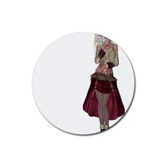 Steampunk Style Girl Wearing Red Dress Drink Coasters 4 Pack (Round)