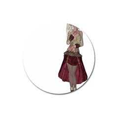 Steampunk Style Girl Wearing Red Dress Magnet 3  (Round)