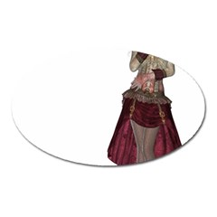 Steampunk Style Girl Wearing Red Dress Magnet (oval)