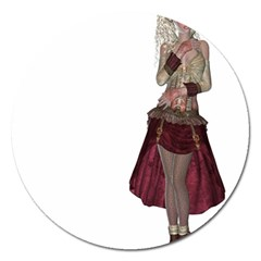 Steampunk Style Girl Wearing Red Dress Magnet 5  (Round)