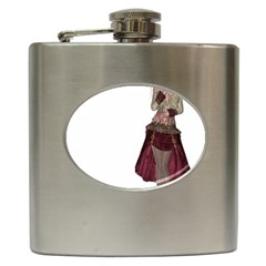 Steampunk Style Girl Wearing Red Dress Hip Flask