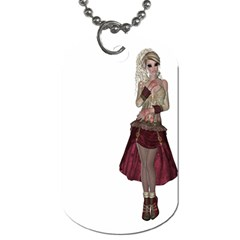 Steampunk Style Girl Wearing Red Dress Dog Tag (Two-sided)
