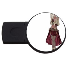 Steampunk Style Girl Wearing Red Dress 1GB USB Flash Drive (Round)