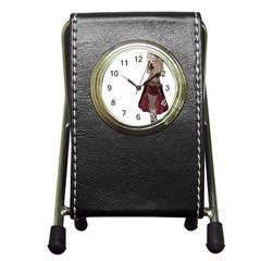 Steampunk Style Girl Wearing Red Dress Stationery Holder Clock