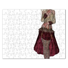 Steampunk Style Girl Wearing Red Dress Jigsaw Puzzle (rectangle)