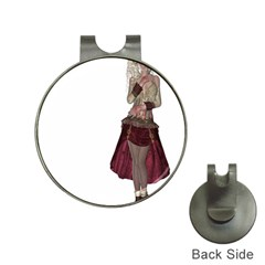 Steampunk Style Girl Wearing Red Dress Hat Clip with Golf Ball Marker