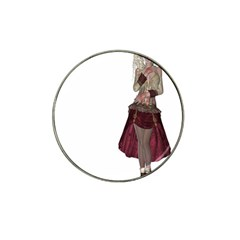 Steampunk Style Girl Wearing Red Dress Golf Ball Marker 4 Pack (for Hat Clip)